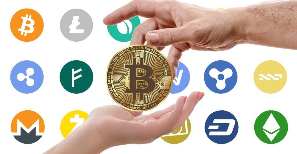 数種類の暗号通貨マーク